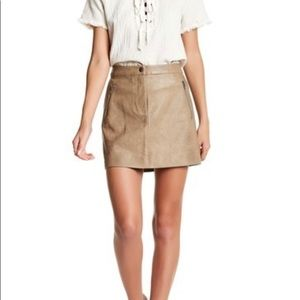 J.O.A. Faux Leather Skirt - Khaki